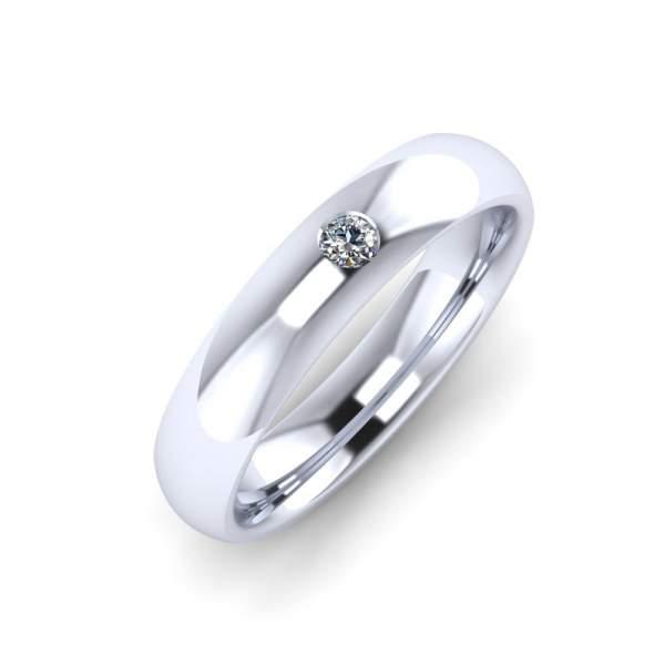 Polierter Platin Ring mit Brillant