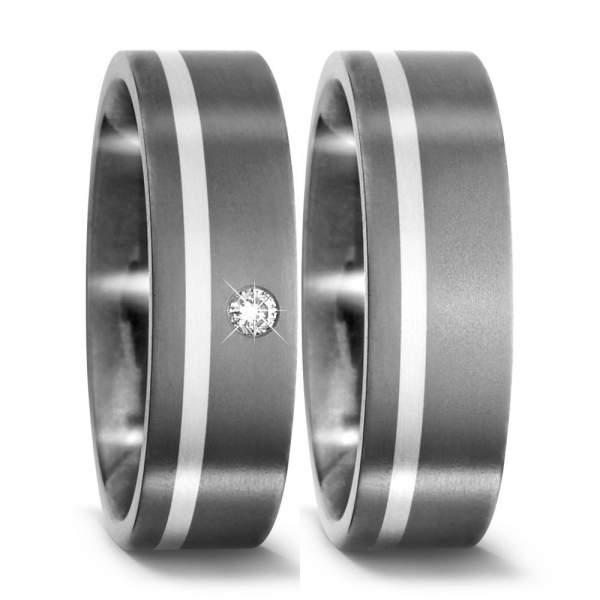 Trauringe Silber Brillanten Titan Factory 51092