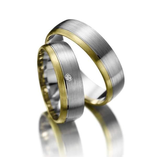 Trauringe Gelbgold Silber Brillant Weidner 61029