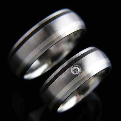 Trauringe Edelstahl Silber Brillant SCHOOP.Design R101