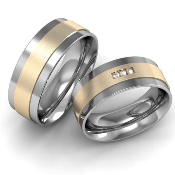 Verlobungsringe Gravur Edelstahl Gold Brillant ID652