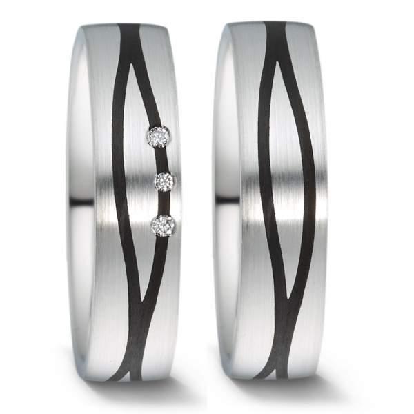 Trauringe Carbon Silber Brillant Weidner 76005