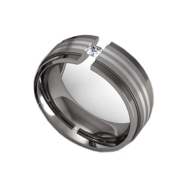 Antragsring Titan Silber mit Stein ID165