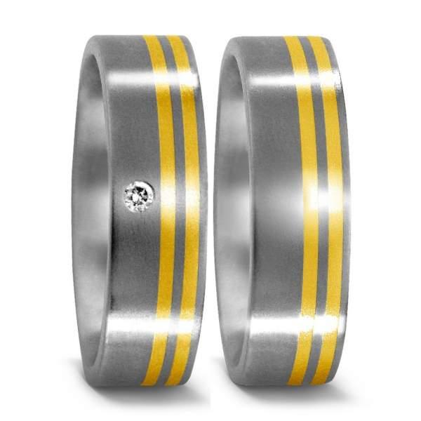 Trauringe Gelbgold Brillanten Titan Factory 50957