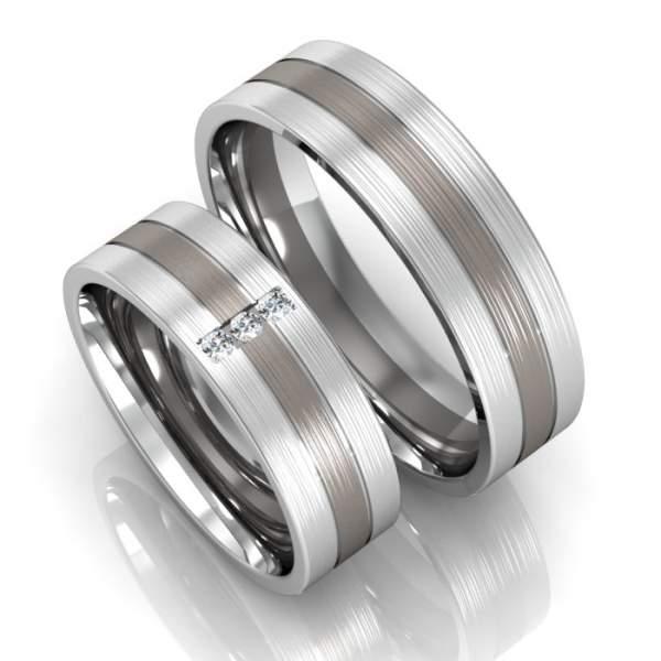 Trauringe Silber Palladium Brillanten ID318