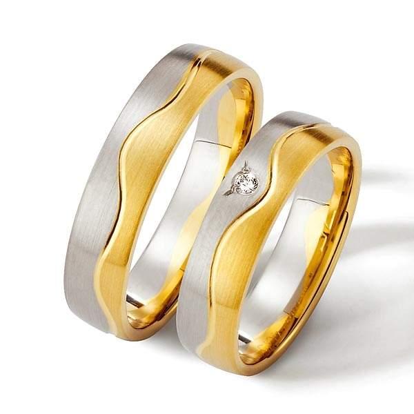 Trauringe Gelbgold Silber Brillant Weidner 62183