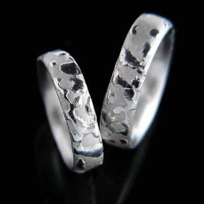Trauringe Silber Natur im Design - Steinform