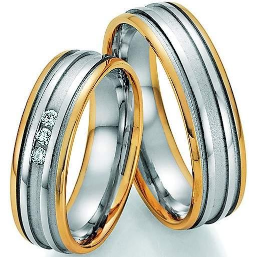 Trauringe Gold Palladium Honeymoon Solid Brillant 66-34090