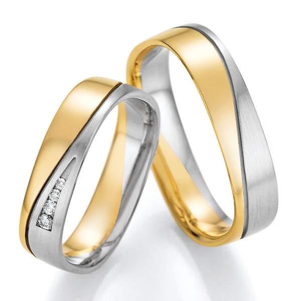 Trauringe Gold Palladium Honeymoon Solid Brillant 66-46030