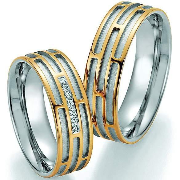 Trauringe Gold Palladium Honeymoon Solid Brillant 66-34130