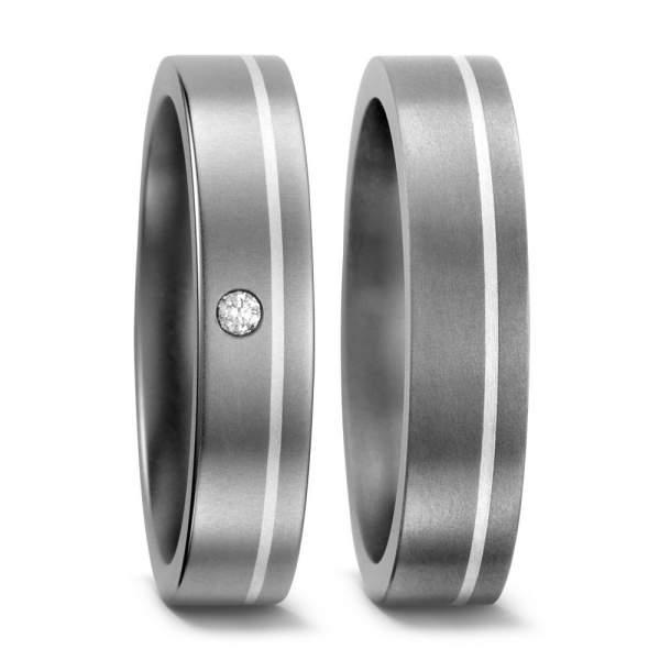 Trauringe Silber Brillant Titan Factory 51050