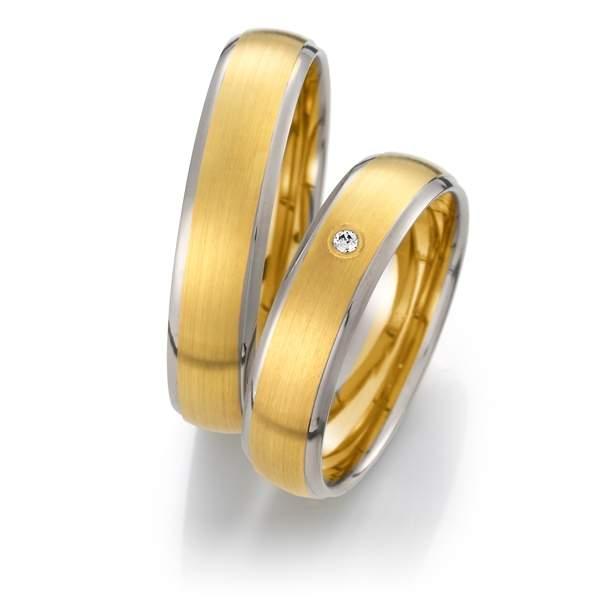 Trauringe Gelbgold Silber Brillant Weidner 62033