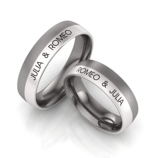 Verlobungsringe Titan Silber Gravur ID1071