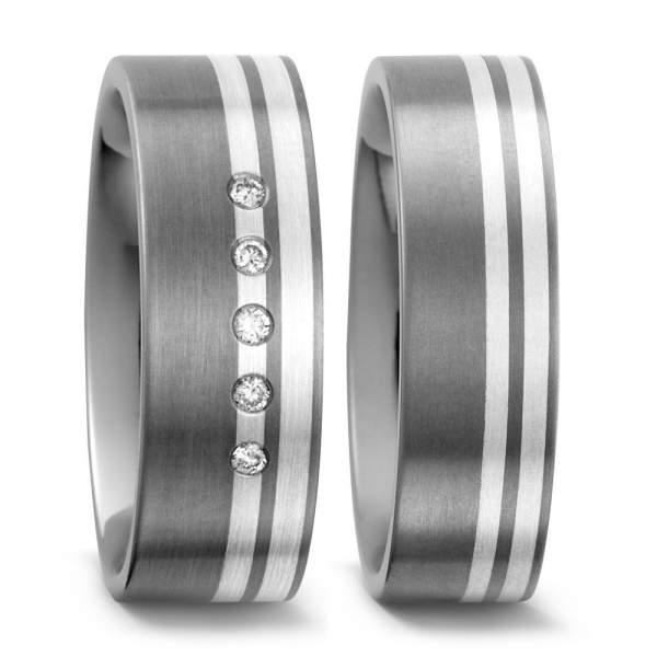 Trauringe Silber Brillanten Titan Factory 51045