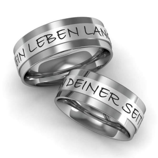 Verlobungsringe mit Edelstahl und Silber und einer individuellen Aussengravur ID659