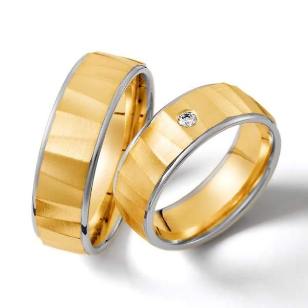 Trauringe Gelbgold Weißgold Brillant Weidner 62154