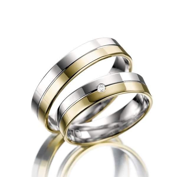 Trauringe Gelbgold Silber Brillant Weidner 62089