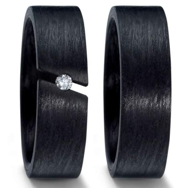 7 mm breite aus Carbon Spannring Brillant von 0,05 Karat der Marke TitanFactory