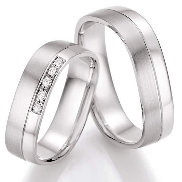 Trauringe Palladium Honeymoon Solid Brillant 66-42110