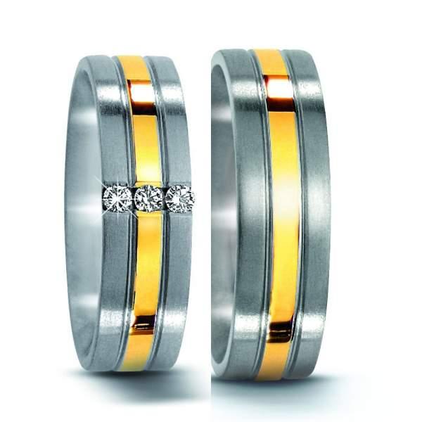Trauringe Edelstahl Gelbgold Brillanten Titan Factory 50962_ES