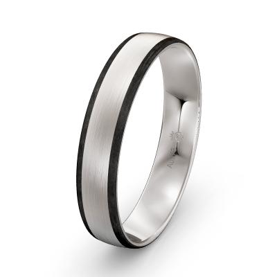 Männer-Verlobungsring Weissgold-Carbon matt