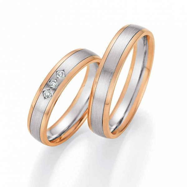 Trauringe Gold Palladium Honeymoon Solid Brillant 66-60150