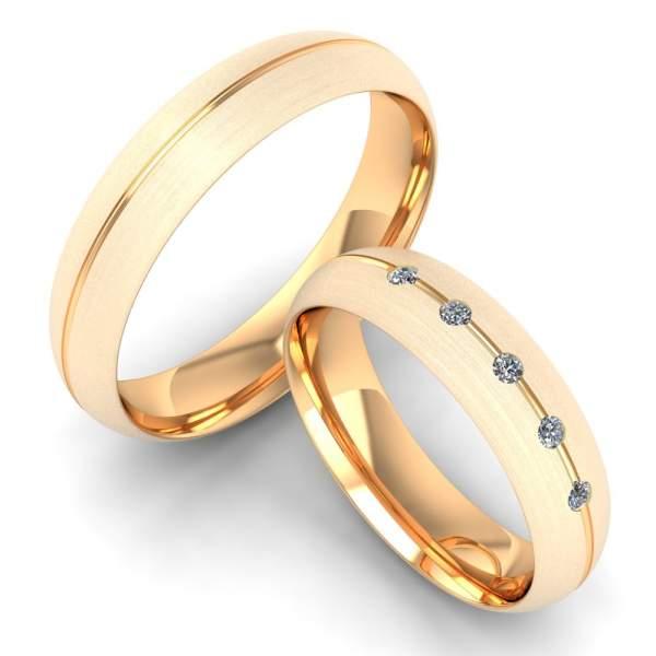 Rosegold Eheringe Glanznut 5 Steine matt