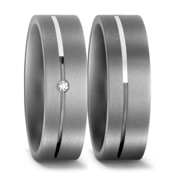 Trauringe Silber Brillant Titan Factory 50892