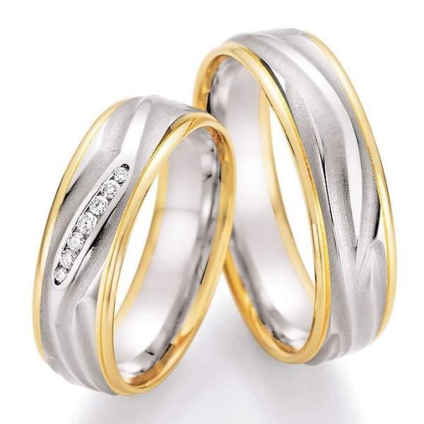 Trauringe Gold Palladium Honeymoon Solid Brillant 66-45050