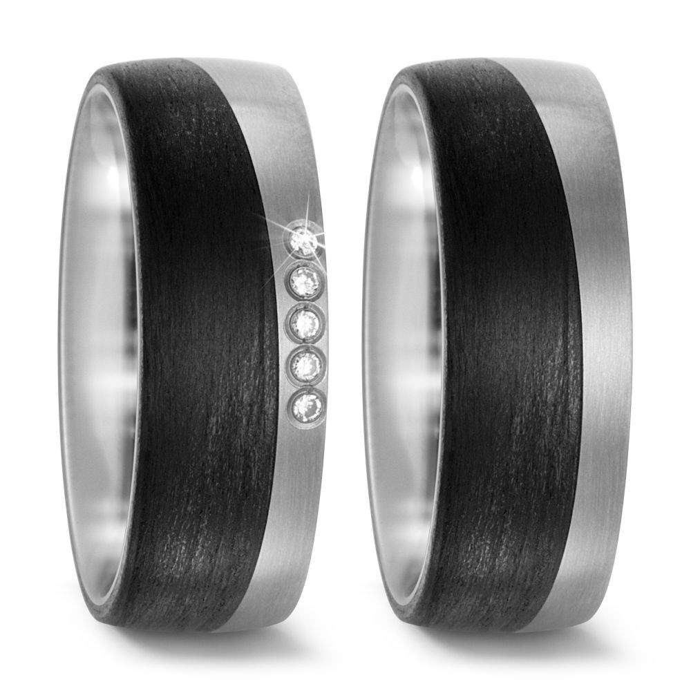 Carbon Ringe mit Diamanten