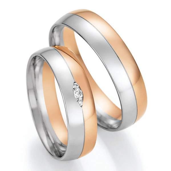 Trauringe Gold Platin Honeymoon Solid Brillant 66-46130