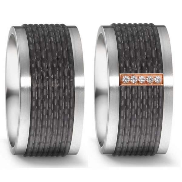 Trauringe Rotgold Carbon Brillant Titan Factory 52543