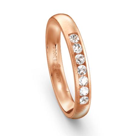 Memoirering rotgold mit Ddiamanten in Kanalfassung