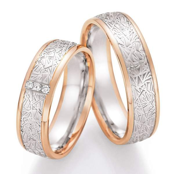 Trauringe Gold Palladium Honeymoon Solid Brillant 66-45110