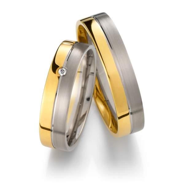 Trauringe Gelbgold Silber Brillant Weidner 62040