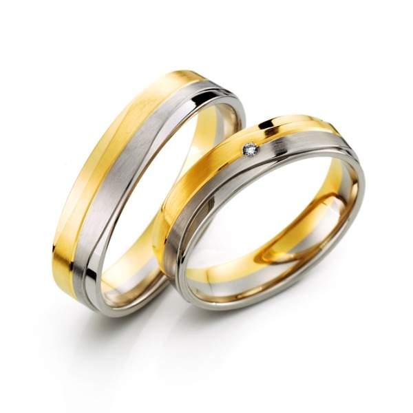 Trauringe Gelbgold Weißgold Brillant Weidner 62613