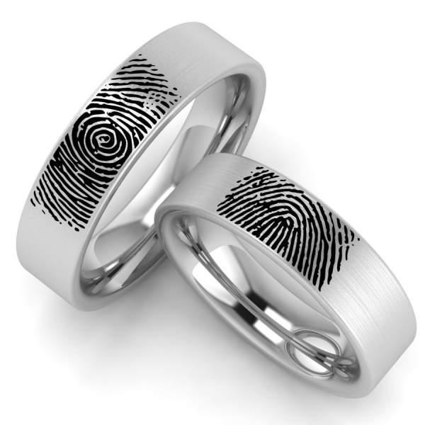 Individuelle Ringe mit Fingerbadruck aus Edelstahl
