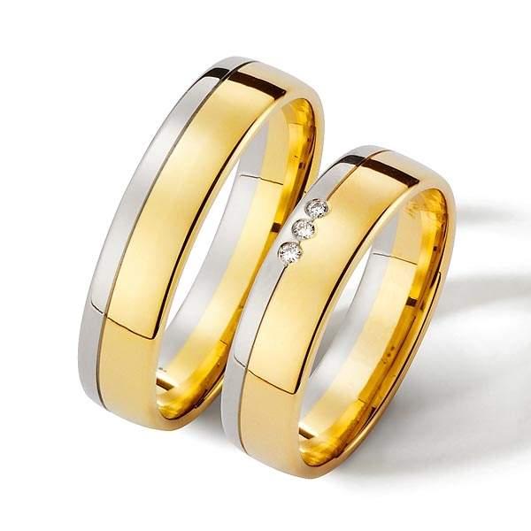 Trauringe Gelbgold Silber Brillant Weidner 62076