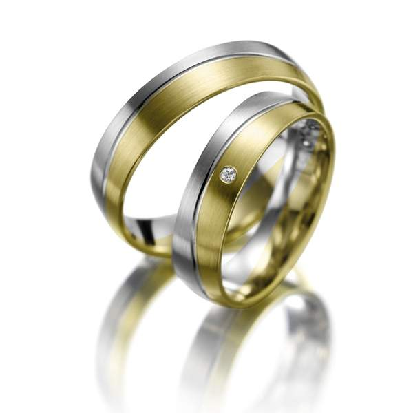 Trauringe Gelbgold Silber Brillant Weidner 61138