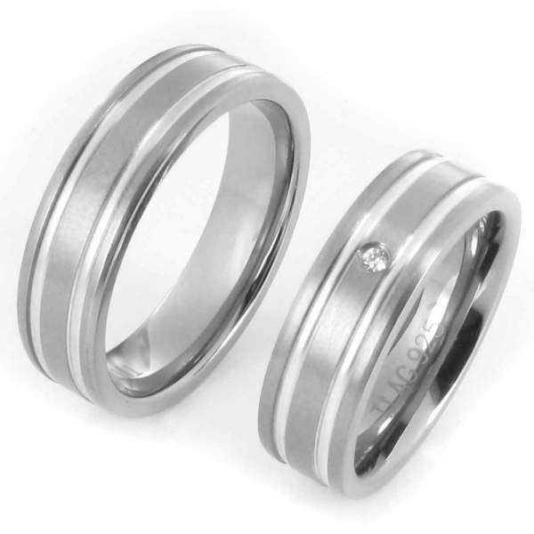 Verlobungsringe Titan Silber Zirkonia Cilor 20028