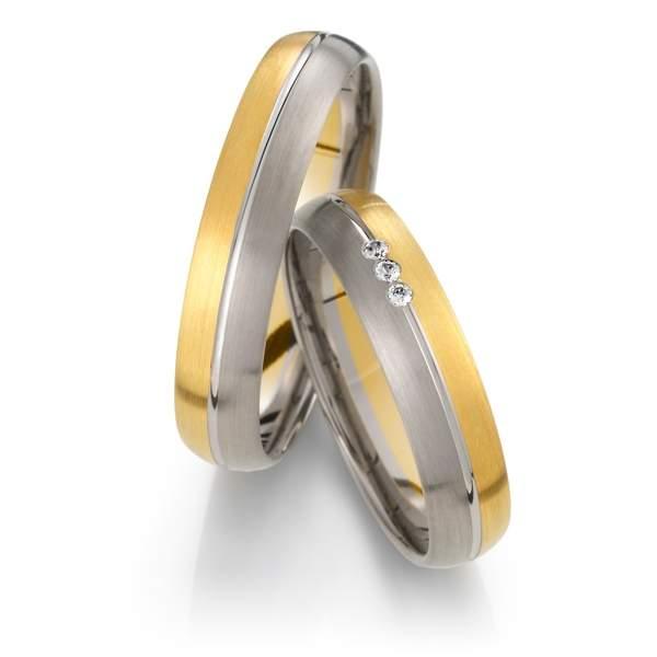 Trauringe Gelbgold Silber Brillant Weidner 62031