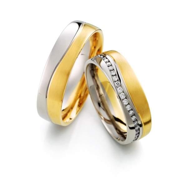Trauringe Gelbgold Silber Brillant Weidner 62628