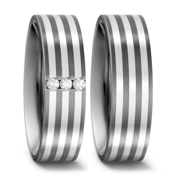 Trauringe Silber Brillanten Titan Factory 51405